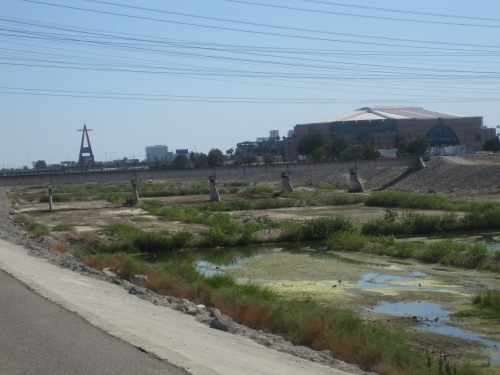 Santa Ana River Trail view of Anaheim Stadium and Honda Center