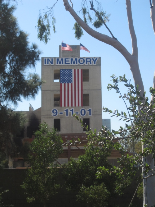 9-11 Memorial Fire Training Tower, as viewed from the Santa Ana River Trail