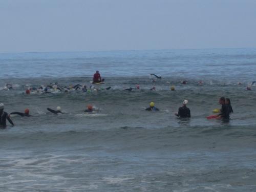 Practicing the open water swim