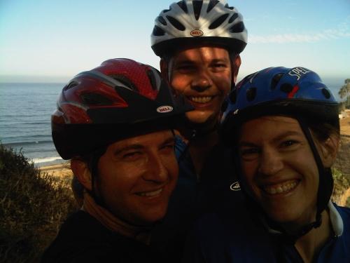 Three happy bikers