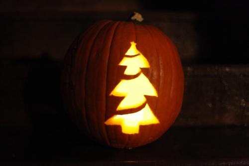 Christmas tree jack-o-lantern