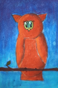 red brown owl in pastel