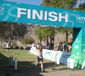 A newbie crosses the line to become a triathlete!