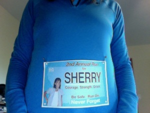 Virtual Run for Sherry race bib