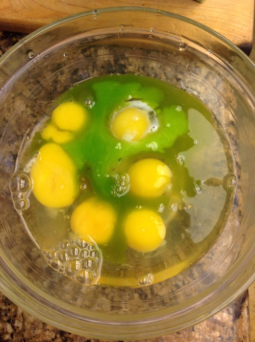 eggs with natural green dye