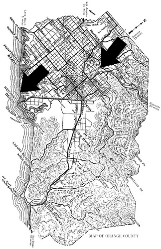 This map from 1921 shows how the trail follows the Santa Ana River from Anaheim to the ocean. Photo courtesy of Orange County Archives.