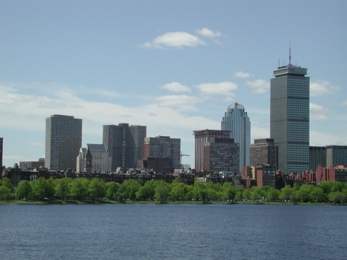 The 2002 view of Boston from my apartment side of the Charles River.
