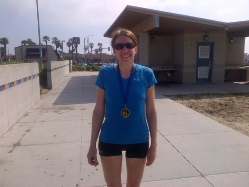 One red-faced but happy finisher!