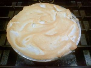 Chocolate meringue pie that I baked for the 6th graders to celebrate Pi Day