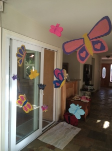 My 12-year-old made butterfly decorations for the party and the kids added their milk jug butterflies during the party!