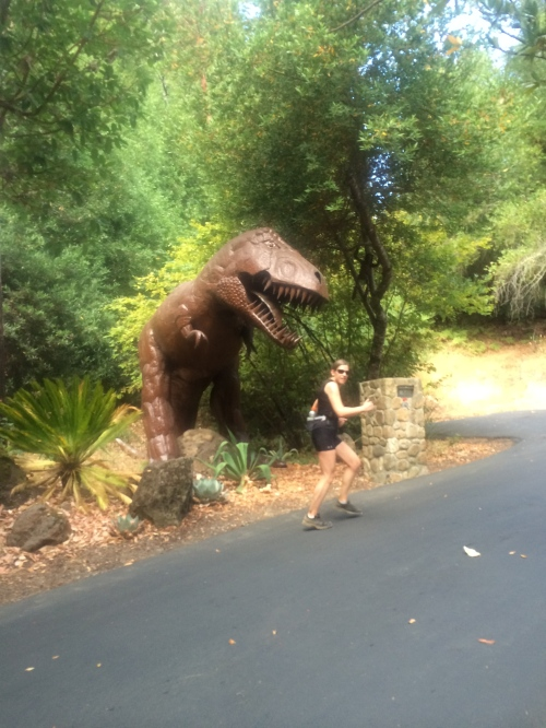 Nothing like a giant T-Rex to motivate you to run!