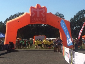 Finish line arch at Ragnar Napa Valley 2014.