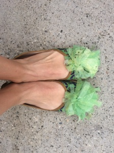 Removable pom-poms that can be transferred to  my lime green Brooks running shoes.