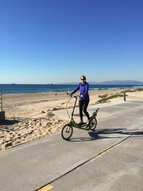 Normally I would wear a helmet but we just took the ElliptiGO for a quick spin on the Strand at Hermosa Beach to make sure it was assembled correctly.
