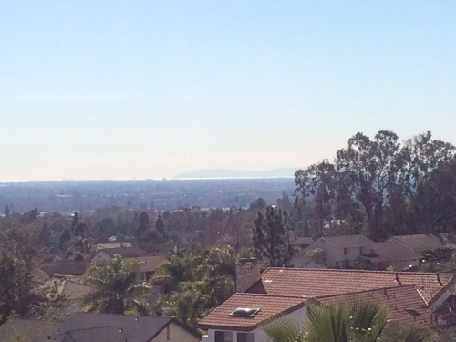 That little bright line is the Pacific Ocean between Long Beach and Catalina Island