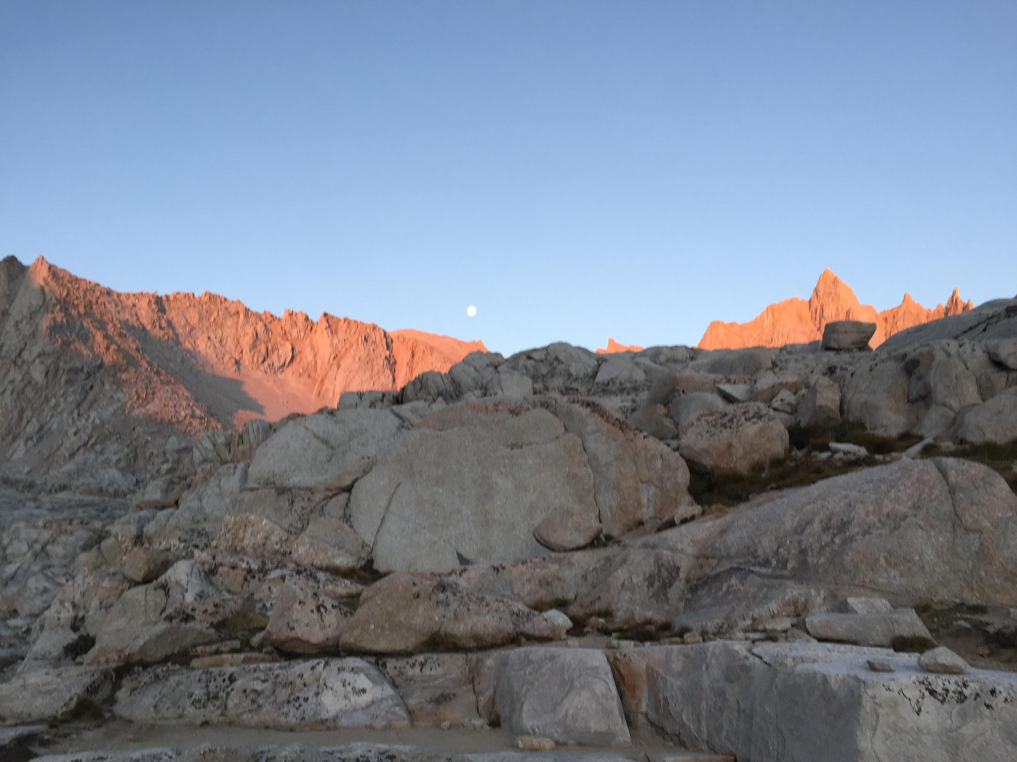 Moon set over Mt. Whitney range
