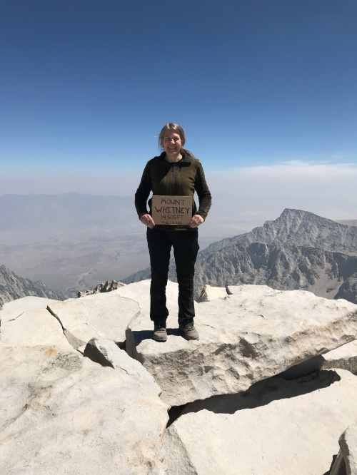 Mt. Whitney summit hiker